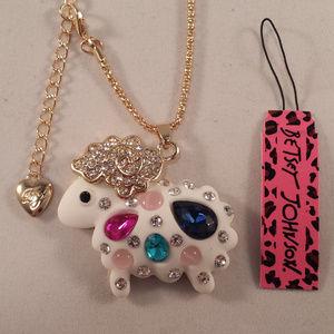 Jewelry - Betsey Johnson Lamb Sheep Crystal Necklace + Gift!